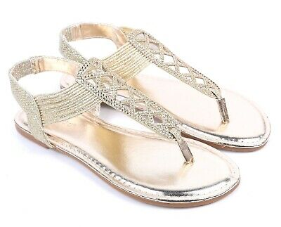 Gold Color BAMBOO Women T-Strap Slip on Stylish Flat Sandals Shoes Size 8