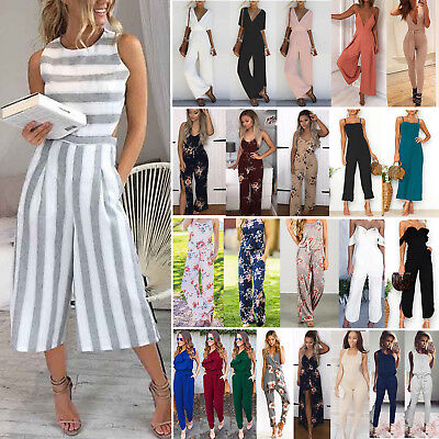 Womens Boho Sleeveless Long Jumpsuit Beach Romper Playsuit Dress Party Clubwear