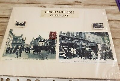 Rare 2 feves collection cartes postal ville clermont boulangerie clermont 60600