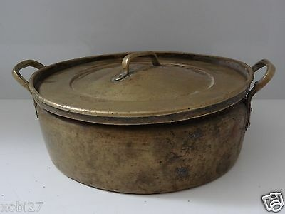 Vintage Brass Pan Pot Container  With Original Lid