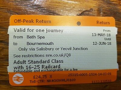 SINGLE. Bath Spa - Bournemouth from 13May -12June 16-25 RAILCARD REQUIRED