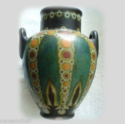 Gouda art deco pottery vase Henley pattern  - Holland  ca 1923 - FREE SHIPPING