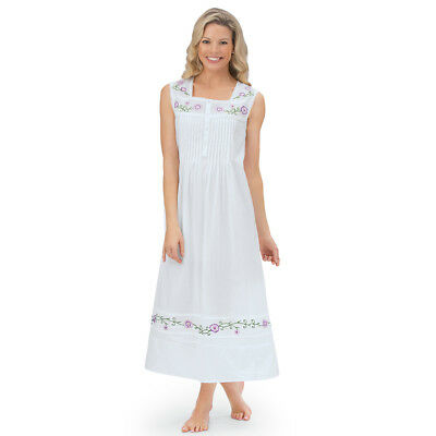 Women's Long Cotton Sleeveless Nightgown Pajama, by Collections Etc