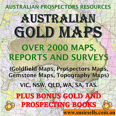 Australian Gold Prospecting Detecting Topographic Fossicking Maps Reports Book.