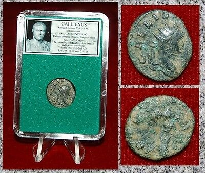 Ancient Roman Empire Coin Of GALLIENUS Pax Holding Olive Branch Reverse
