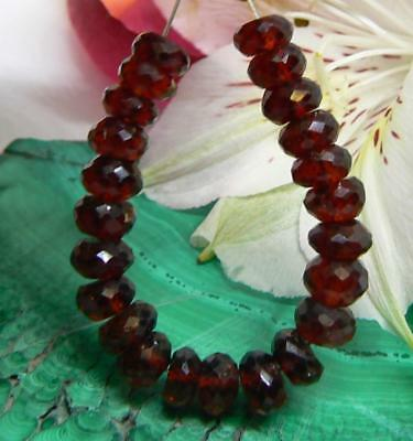 23 RARE NATURAL CHERRY RED HESSONITE GARNET FACETED BEADS STRAND 6mm AAA