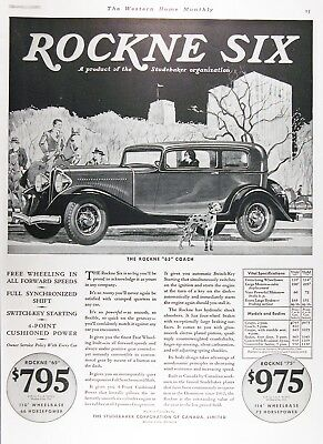 1932 STUDEBAKER ROCKNE SIX Genuine Vintage Advertisement ~ VERY RARE CDN AD