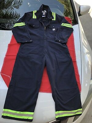 Carhartt FR Safety/ Reflective HRC2 Navy Blue Coverall 8.6 ATPV LARGE REGULAR