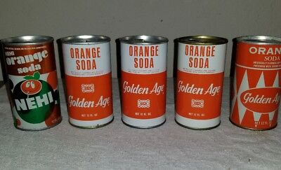Lot of 5 Collectible late 1960s steel Orange soda cans - opened