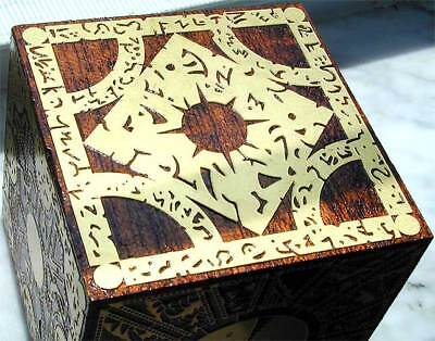 SOLID MAHOGANY HELLRAISER PUZZLE BOX ETCHED BRASS CUBE Lament Configuration