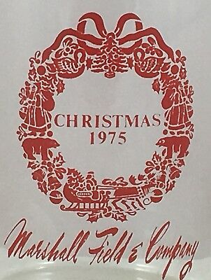 Vintage 1975 Marshall Field & Co Advertising Red Xmas Wreath Glass Wine Carafe