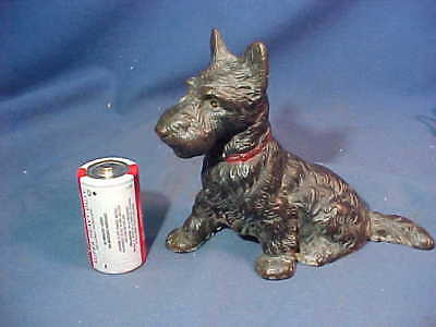 """1920s HUBLEY Cast Iron SCOTTY DOG Figural 5"""" PAPERWEIGHT w Orig Paint"""