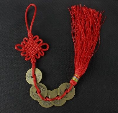 hand made Red Chinese knot prepared by emperor copper coin