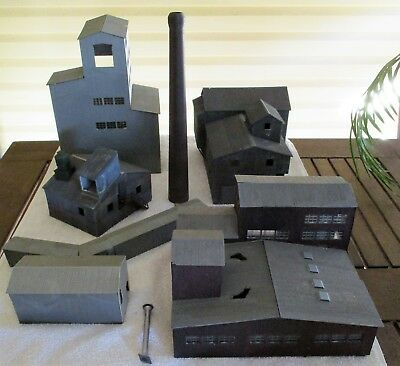 Industrial Factory or Mill Buildings, Brick Smoke Stack, Sheds - Walthers, HO OO
