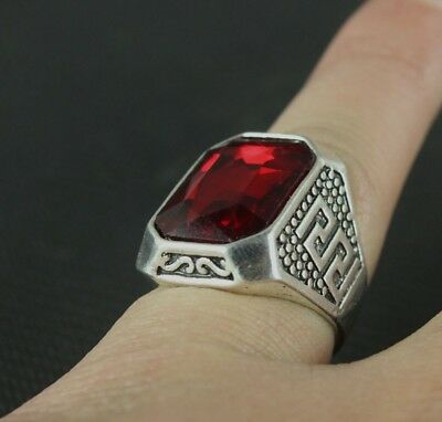 Collection decorations Miao silver Handmade sheep ring classic red