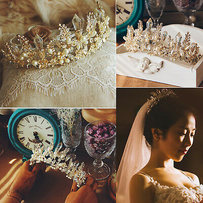 Baroque Bride Tiara Headdress Crown Handmade Rhinestone Crystal Wedding Headband