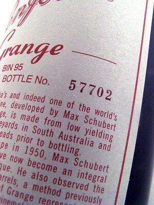 2002 PENFOLDS GRANGE Bin 95 Shiraz Bottle #57702 from original case ISLE OF WINE