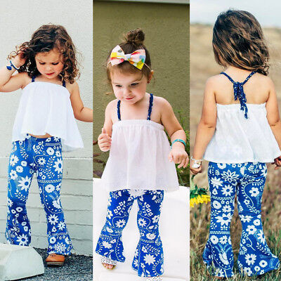 USA Toddler Kids Baby Girl Summer Lace Tops T-shirt Pants 2Pcs Outfits Clothes
