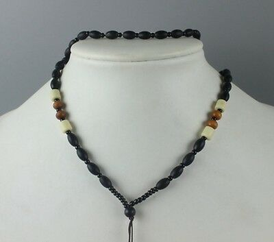Chinese Obsidian hand woven pendant Beads necklace Accessories