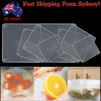 AU Reusable Food Fresh Keeping Silicone Stretch Lids Wraps Seal Cover Cling Film