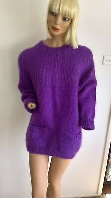 Vintage 80s purple mohair & wool round neck jumper with pockets Size 10/S