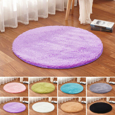 Fluffy Rugs Anti-Skid Shaggy Area Rug Room Garden Bedroom Carpet Round Floor Mat