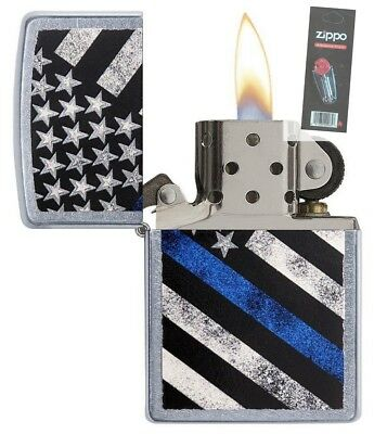 Zippo 29551 Blue Line Street Chrome Finish Full Size Lighter + FLINT PACK