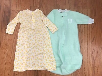 Vintage Carter's Baby Infant Long Sleeved Layette Sleeper Gown