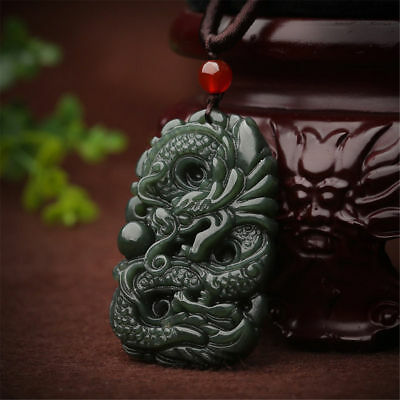 Hot China natural jade hand-carved beast dragon lucky amulet pendant necklace