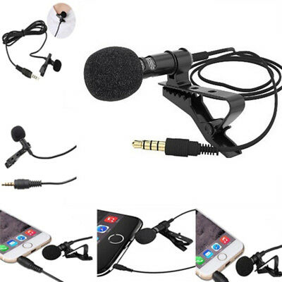 Lavalier Mic Microphone Case For IPhone Smart Phone Recording PC Clip-on Lape UK
