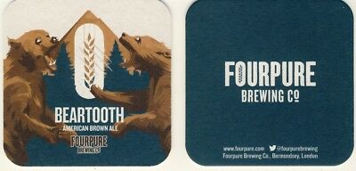 New sous bock bierviltje coaster FOURPURE BREWING BEARTOOTH ours bear Brown ale