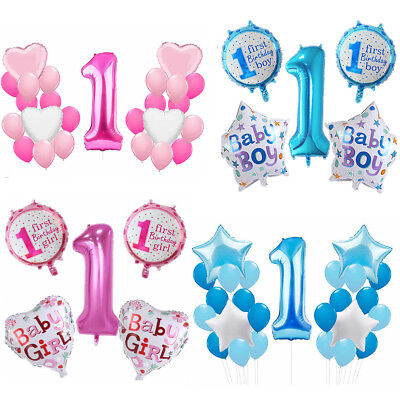 Boy Girl Happy First 1st Birthday Foil Balloons Baby Shower Christening Party