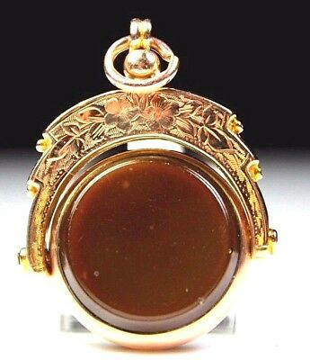 9CT CHESTER GOLD ART DECO PERIOD BLOODSTONE CARNELIAN FOB c1920