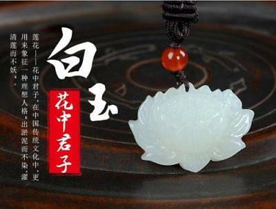 Natural Hand-carved Afghanistan white Jade Pendant Lotus Flower Free Necklace