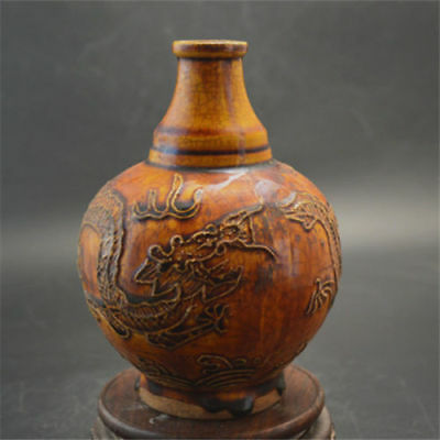 "6.5"" Chinese Old Antique Ming Dynasty carved dragon porcelain vase"