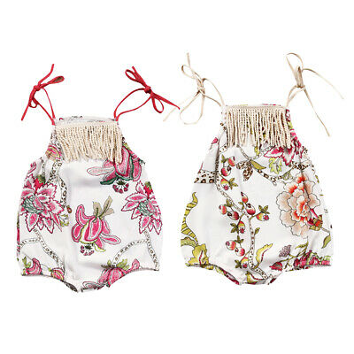Newborn Infant Baby Girls Romper Floral Bodysuit Sunsuit Summer Beach Clothes