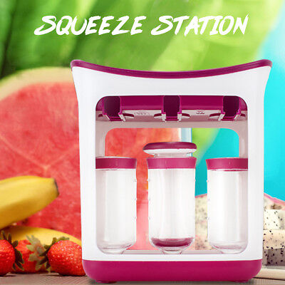 Baby Feeding Food Squeeze Station Toddler Infant Fruit Maker Dispenser Storage