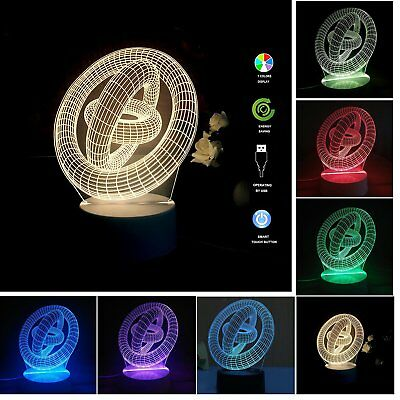 USB Powered 7 Colors Illusion 3D Glow LED Lamp Produces Unique Lighting Effects