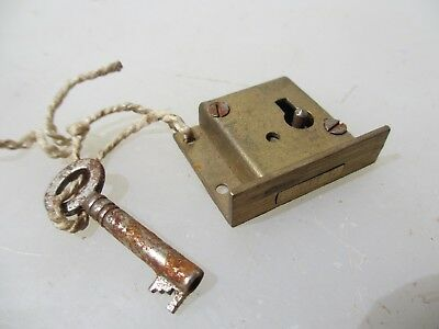 Vintage Brass Cabinet Lock Cupboard Chest Drawer Bolt Key Old Iron Antique
