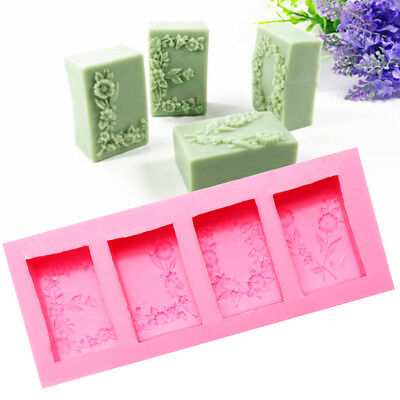 4Pcs DIY Rectangular Flower Flexible Silicone Mold 3D Candle Soap Cake Mould