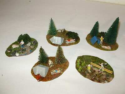 Preiser country scenes/camp sites. Good cond. HO Scale. Made in Germany. No box.