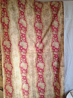 19C Antique French Fabric, Floral Cotton Panel Pink Red & Yellow Textile 1pc