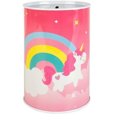 Kids Childrens Unicorn Money Tin Box Piggy Bank Novelty Savings Gift coin Jar