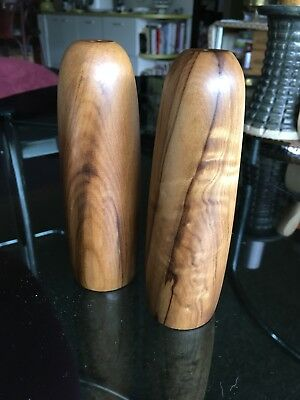 Vintage Mid Century MCM Bullet Blackwood wooden salt & pepper shakers Handmade