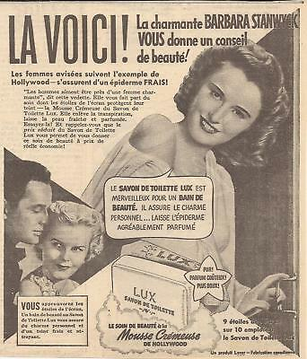1941 BARBARA STANWYCK for LUX SOAP ORIGINAL AD IN FRENCH