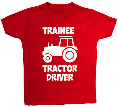 Trainee Tractor Driver Baby/Children T-Shirt/Top 0-3M to 5-6Yrs Boy Girl Farmer