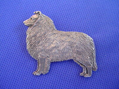 Rough coated Collie Pewter Pin STANDING #67B dog jewelry by Cindy A. Conter