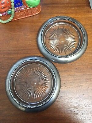 2 Vintage Signed Sterling Silver Glass Lined Large Nut Bowls Coasters Dish Scrap