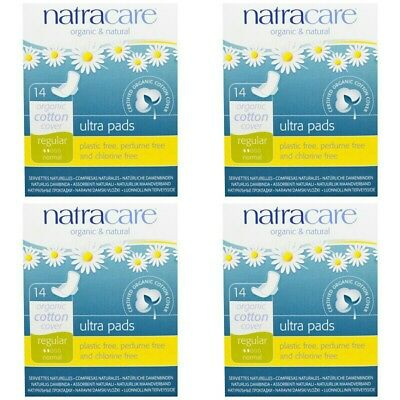 4 PACK Natracare,Ultra Pads, Organic Cotton Cover,Regular,Normal, 14 Pads EACH