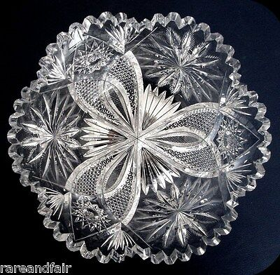 Crystal bowl with sawtooth rim - six lobes FREE SHIPPING